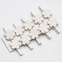 Набор игрушек на елку - прищепки снежинка, 10шт, 16*9 см, белый, дерево (060603-3)