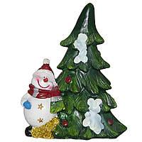 Фигурка сувенирная Снеговик с елкой справа (440481-2)