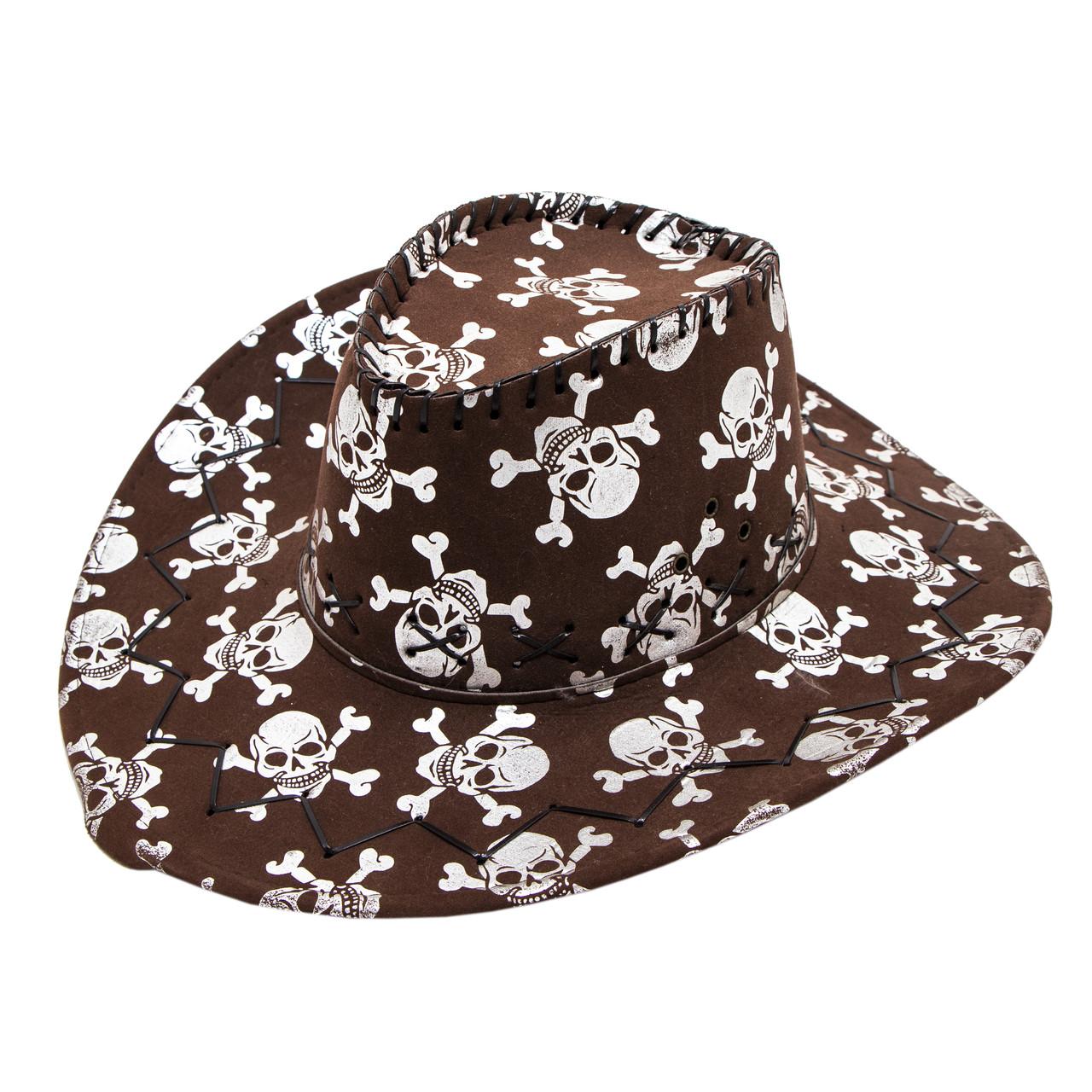 Шляпа кожаная, в черепа, 58-60 см (460120-2)