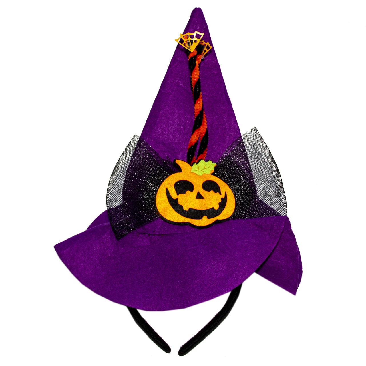 Карнавальний капелюх-ободок гарбуз, фіолетовий, фетр (513276-3)