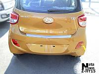Накладка на бампер с загибом Hyundai i10 с 2014- (NataNiko)