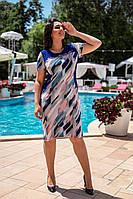 Летнее легкое женское платье большого размера, короткий рукав, платье, ткань масло, 52, 54, 56, 58, Электрик