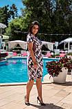 Летнее легкое женское платье большого размера, короткий рукав, платье, ткань масло, 52, 54, 56, 58, цвет Фрез, фото 4