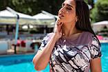 Летнее легкое женское платье большого размера, короткий рукав, платье, ткань масло, 52, 54, 56, 58, цвет Фрез, фото 2