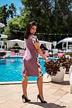 Летнее легкое женское платье большого размера, короткий рукав, платье, ткань масло, 52, 54, 56, 58, цвет Фрез, фото 3