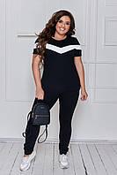 Костюм летний легкий футболка и брюки двойка повседневный для женщин, черный