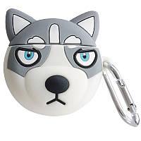 Силиконовый футляр Husky для наушников AirPods + карабин, фото 1