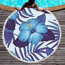 Кругле пляжний рушник Синій квітка (150 див.)