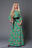Длинное женское платье из трикотажа в цветочный принт