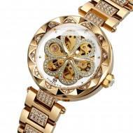 Часы наручные женские механические скелетон Forsining Золотистые