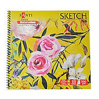 Альбом для акварели SANTI Floristics, 210*210 мм, Paper Watercolour Collection, 10 л. 742623