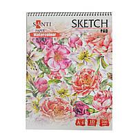 Альбом для акварели SANTI Floristics, А4, Paper Watercolour Collection, 10 л., 200г/м2