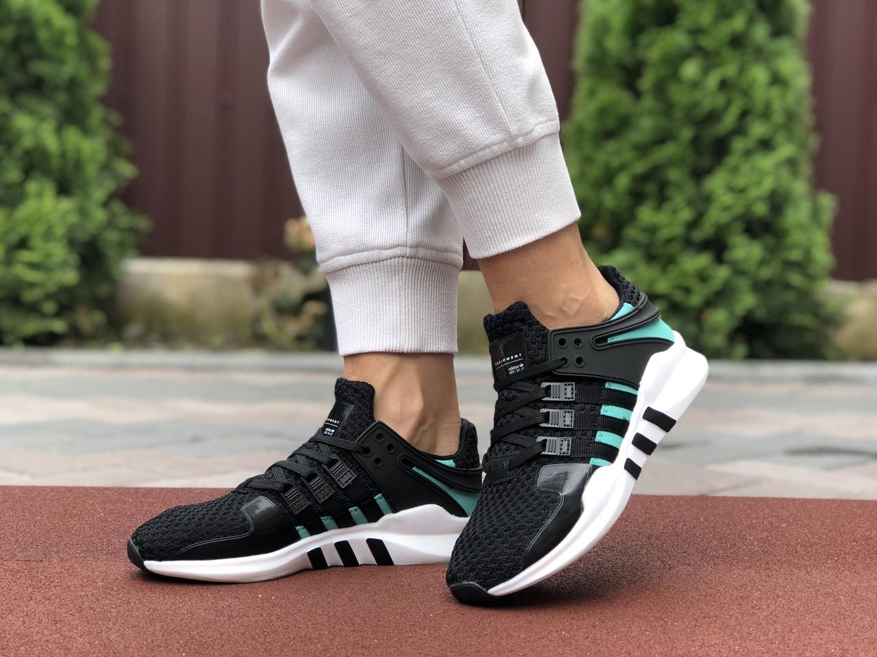 Літні кросівки Adidas Equipment,сітка, чорні з м'ятним