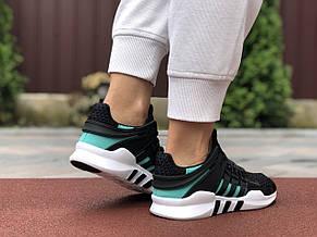 Літні кросівки Adidas Equipment,сітка, чорні з м'ятним, фото 3
