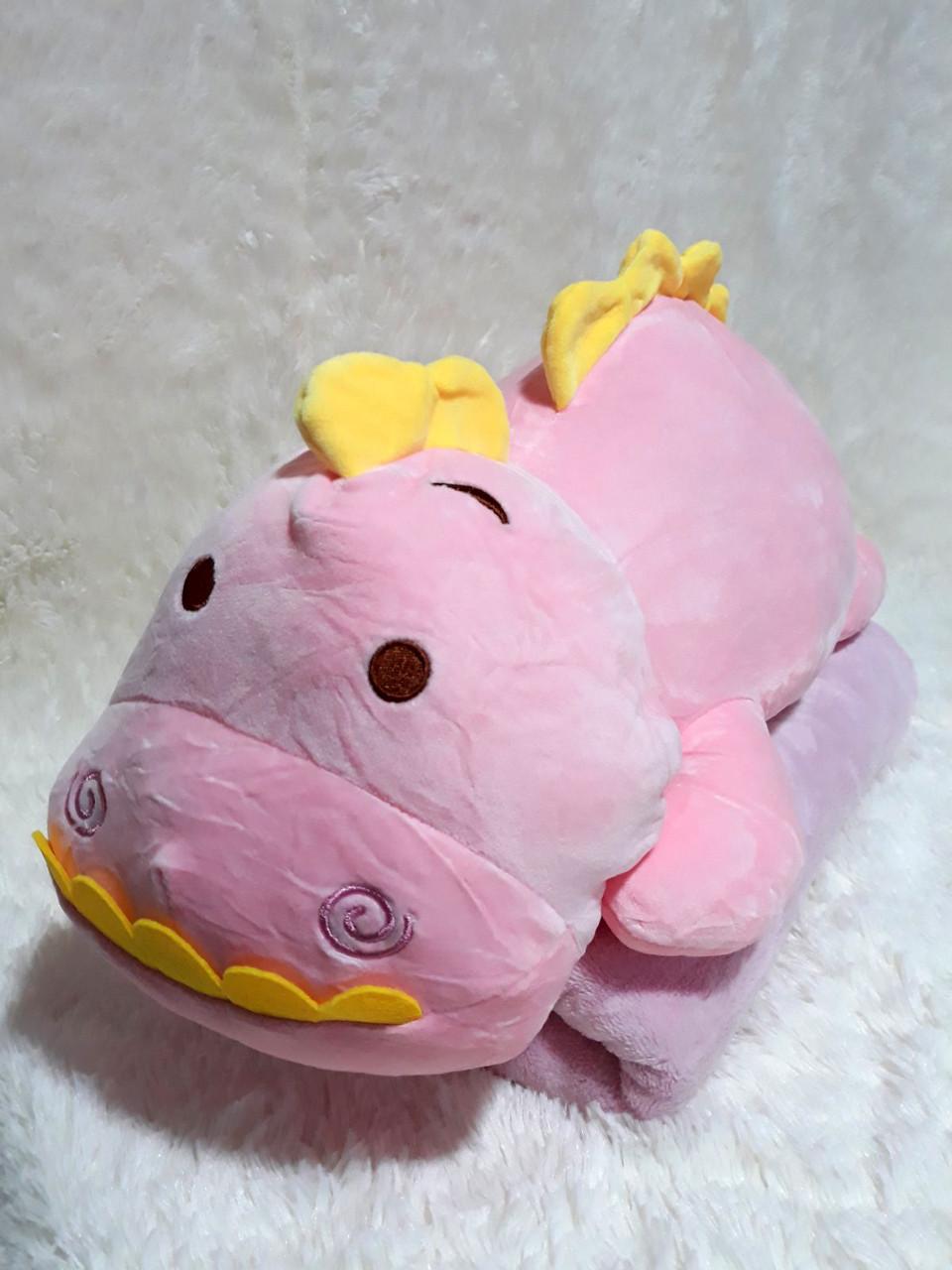 """Подушка- плед """"Динозаврик"""" цвет розовый"""