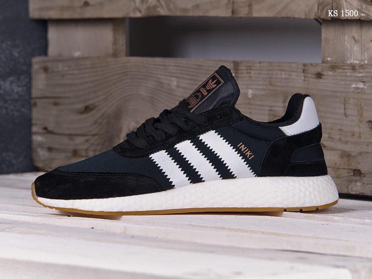 Мужские кроссовки Adidas Iniki Runner (черно/белые) KS 1500