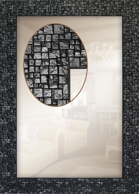 Зеркало настенное в черной раме , влагостойкое