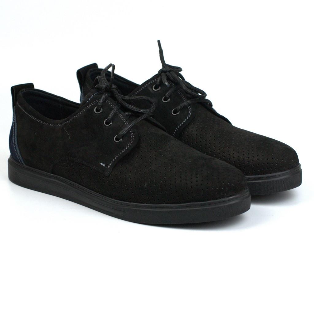 Чорні кросівки, кеди повсякденні нубук перфорація взуття чоловіче річна Rosso Avangard Slipy Black Nub Perf