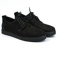 Чорні кросівки, кеди повсякденні нубук перфорація взуття чоловіче річна Rosso Avangard Slipy Black Nub Perf, фото 1