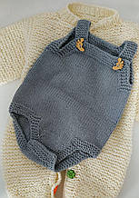 Бодік дитячий 0-3 міс 56-62 см сірий для новонародженого ручна робота