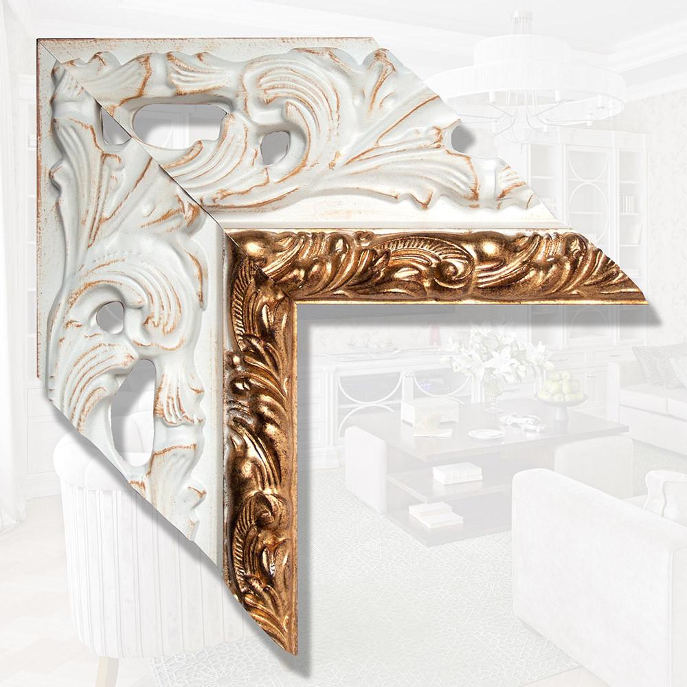 Зеркало в деревянном широком багете 146мм