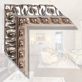 Зеркало в деревянном багете для ванной, спальни, прихожей 88мм