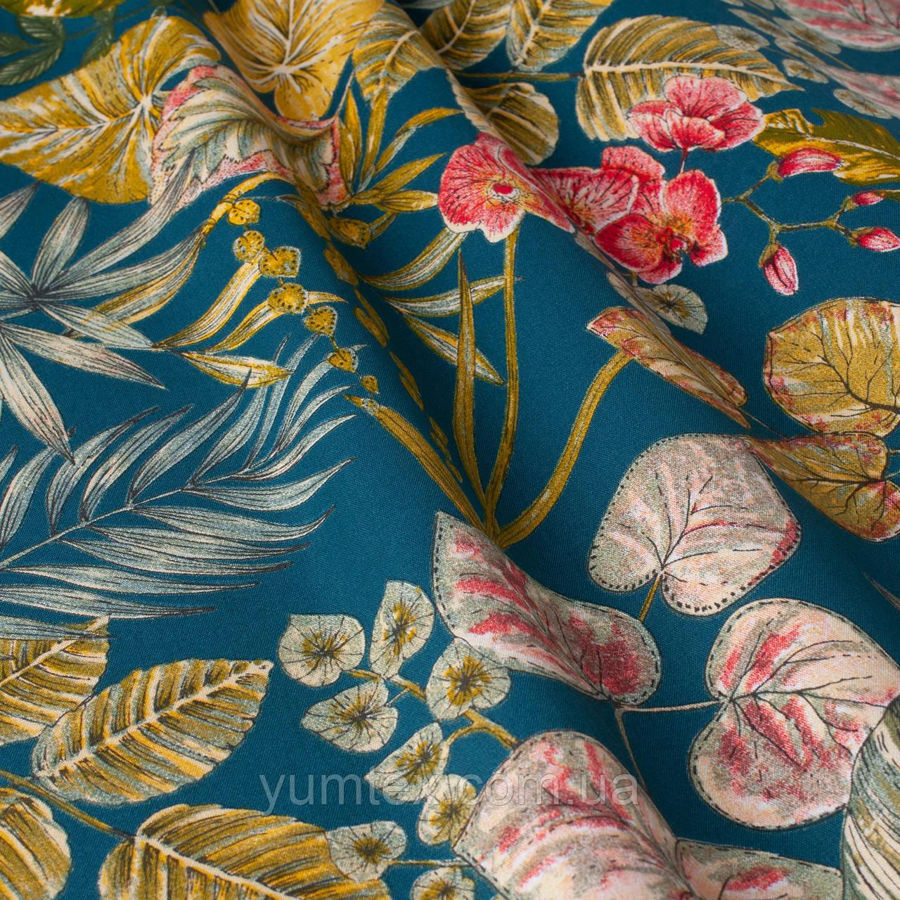 Дралон уличная ткань с крупными желтыми листьями и розовыми бутонами на синем С ДОСТАВКОЙ