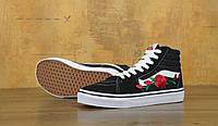 Кеды Vans SK8 Old Skool Black White Rose (Ванс Олд Скул СК-8) Top 70