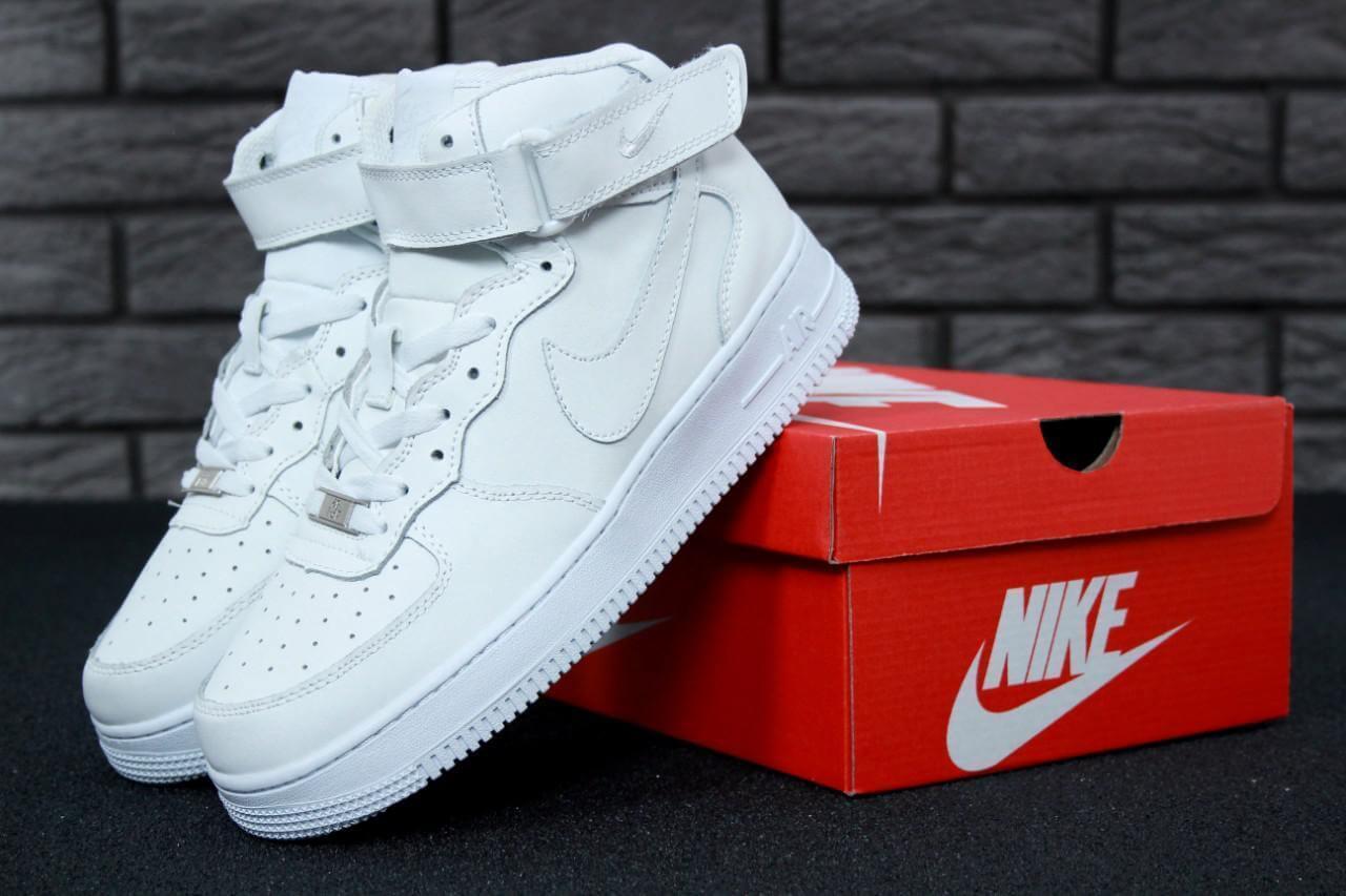 Белые высокие кроссовкиAir Force 1 High White (Найк Аир Форс кожаные) женские и мужские размеры: 36-45 Top 104