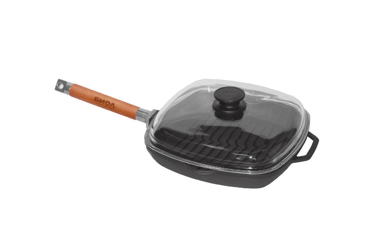 Сковорода-гриль чугунная Биол - 260 мм, с крышкой