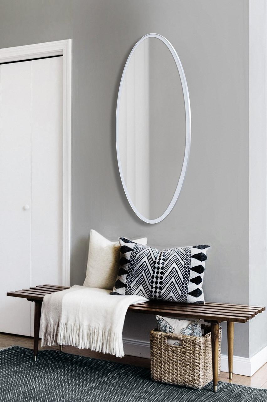 Зеркало ростовое, овальное, белое 1300х600