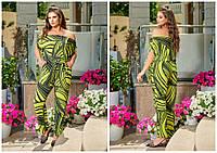 Красивый женский комбинезон в принт супербатал зеленый/абстракция