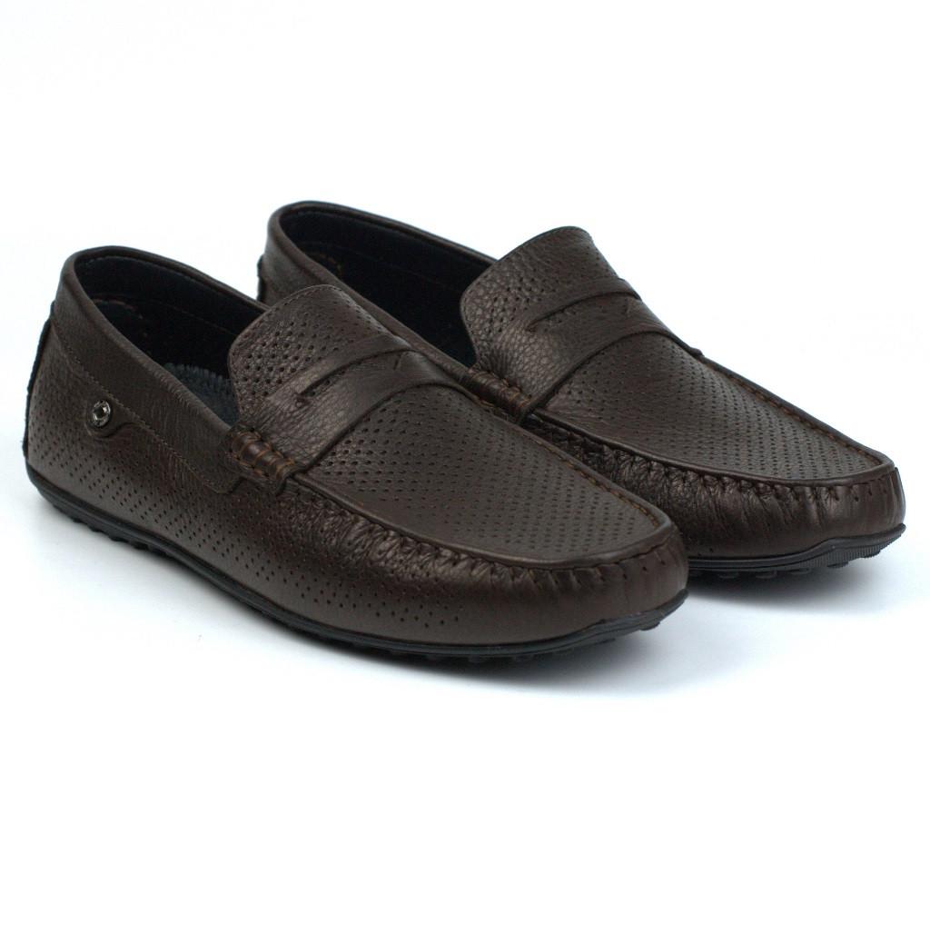 Мокасини чоловічі коричневі шкіряні перфорація літнє взуття ETHEREAL Chelsea Brown Perf Leath