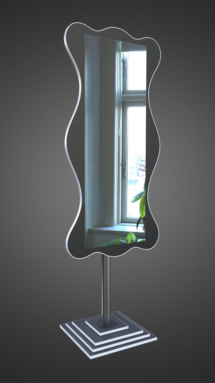 Зеркало напольное,черное с белой кромкой