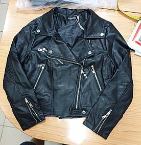Молодежная стильная куртка кожаная со змейками (42-44)