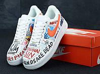 Кроссовки с надписями Air Force Pauly x Vlone Pop (Найк Аир Форс белые низкие) женские и мужские размеры Top 380