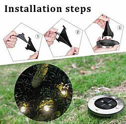 Сонячні вуличні світильники Solar Disk Lights набір 4 штуки Світильник на сонячній батареї