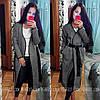 Длинное пальто с запахом и черным поясом