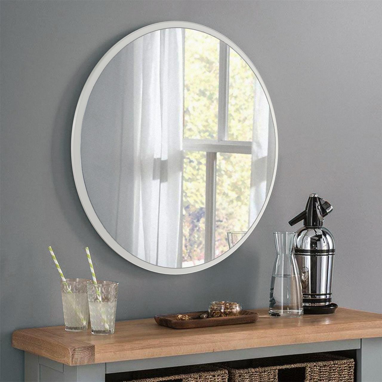 Круглое зеркало, цвет белый 1000 мм