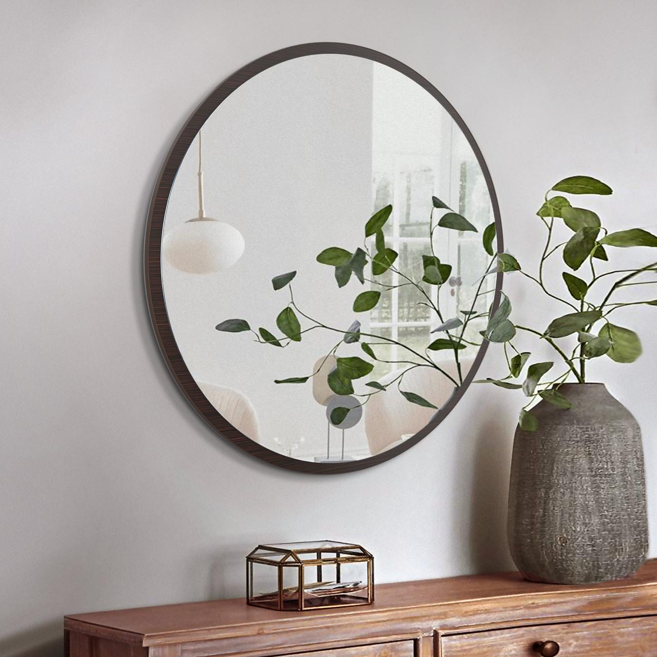 Круглое зеркало в цвете венге ( коричневый ) 1000 мм