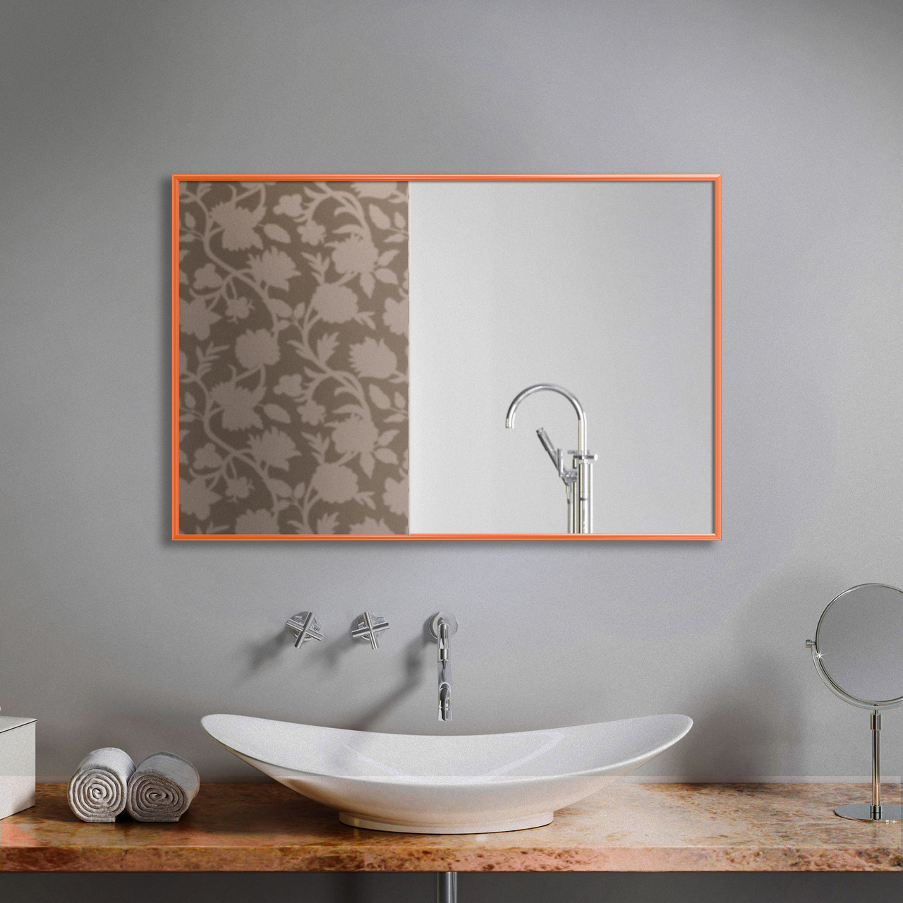 Зеркало прямоугольное в оранжевой рамке