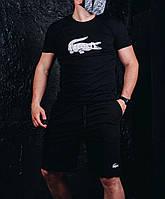 Мужская футболка поло и шорты Lacoste, летний костюм черный