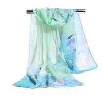 Женский шифоновый шарфик разноцветный с птицами - размер шарфа приблизительно 145*48см, 100% вискоза