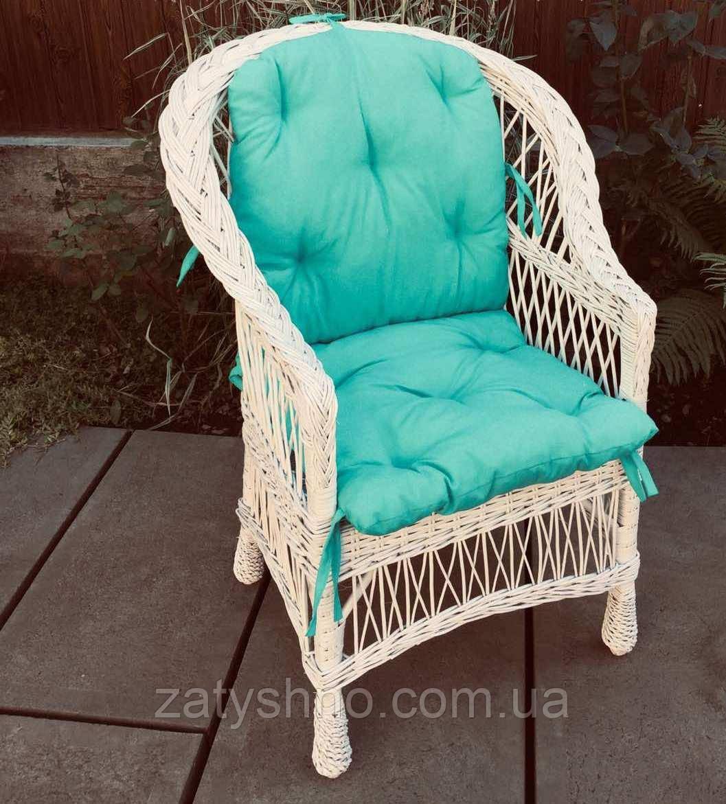 Кресло плетеное с зеленой  накидкой  | кресло из лозы плетеное | кресло из лозы с накидкой
