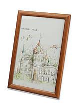 Рамка 10х15 из дерева - Сосна коричневая 2,2 см - со стеклом