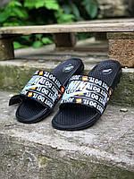 Шлепки тапки мужские летние стильные качественные модные черные Найк, фото 1