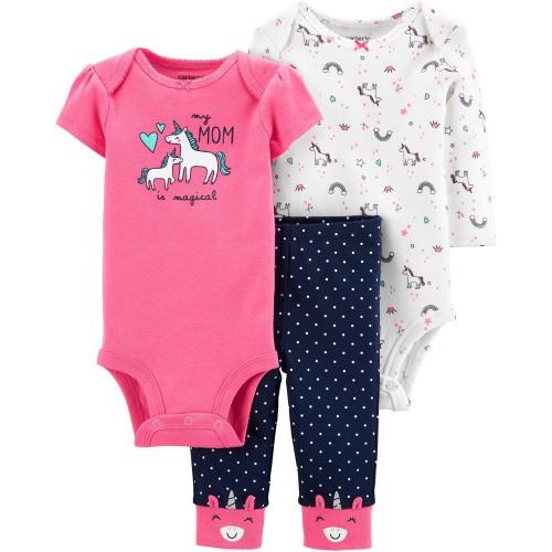 Комплект трійка Картерс carter's для дівчинки, рожевий,синій 12М ( 72-78 см)