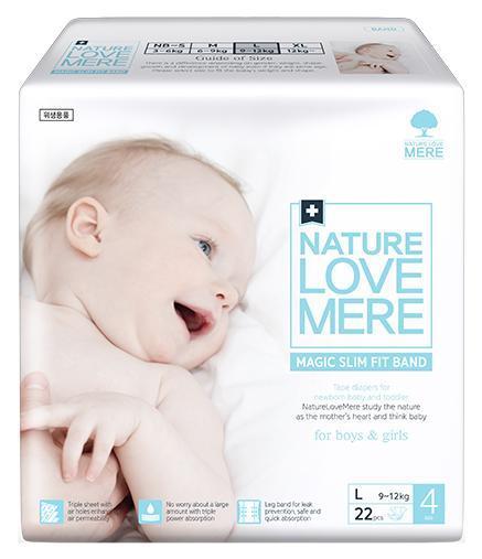 NATURE LOVE MERE - Подгузники детские, серия MAGIC SLIM FIT, размер L, 22 шт, 9-12 кг