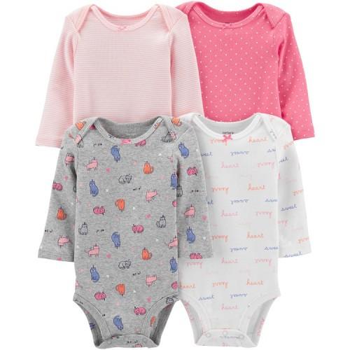 Набор бодиков Carter's для девочки с длинным рукавом, разные цвета 12М (72-78 см)