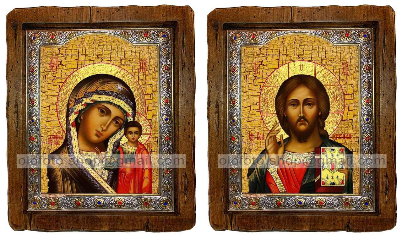 Иконы Венчальная пара Казанская Пресвятая Богородица и Спаситель  ,с посеребренным окладом